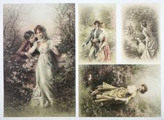 A/4 Classic Decoupage Paper Scrapbook Sheet Vintage Love Date 2