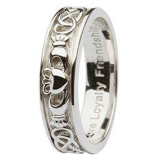Ladies Silver celtic Claddagh wedding ring