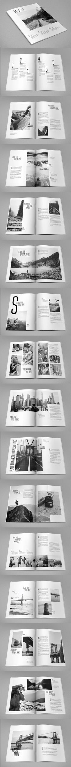 Cool Minimal Photography Magazine Template InDesign INDD - A4 and US Letter Size