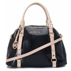MICHAEL Michael Kors Bedford Extra Large Bowling Satchel Black    Items Description  * Black python-embossed leather.  * Golden hardware.  * Top handles with square rings; buckled straps down front.  * Removable/adjustable buckled shoulder strap.  * Hanging MK circle logo charm.  * Michael Kors logo at top center.  * Continental zip top.  * 16cm H x 13cm W x 6cm D.  * Imported.