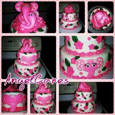 Elephant baby girl shower cake