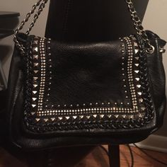 Black vegan leather handbag Adorned with silver accents and rinestones. NWOT. Bags Shoulder Bags
