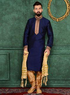 Navy Blue Art Silk Readymade Kurta Pajama 106177