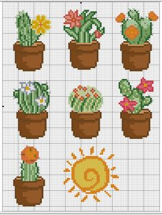 44 Ideas embroidery patterns cross stitch flowers charts for 2019 Cactus Cross Stitch, Mini Cross Stitch, Cross Stitch Designs, Cross Stitch Patterns, Cross Stitch Flowers Pattern, Cross Stitching, Cross Stitch Embroidery, Beading Patterns, Embroidery Patterns