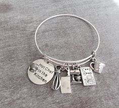 Silver Plated Charm Bracelet Hot Chef in the Kitchen by SAjolie