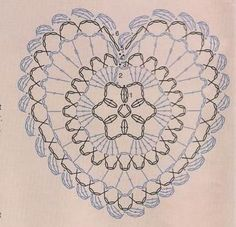 Plus Crochet Stitches Chart, Thread Crochet, Crochet Doilies, Crochet Bags, Lilla, Crotchet, Heart Shapes, San Valentino, Crochet Projects