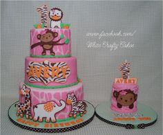Pink Safari/Jungle First Birthday Cake - Safari / Jungle Themed First Birthday Cake and Smash Cake