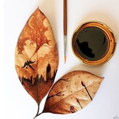 Wow this artist paints on leaves with left over coffee! We'd love to try this with matcha. What's your thoughts?www.zengreentea.com.au   #matcha #superfood