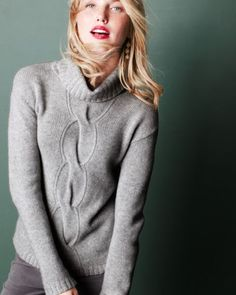 Cashmere Cabled Turtleneck Sweater