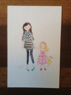 Custom mom & daughter watercolor. Jennifer Vallez.