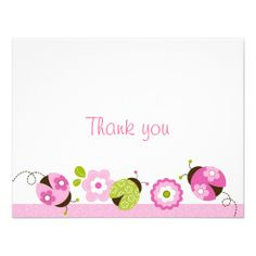 Ladybug Pink Green Flower Thank You Note Cards Invite
