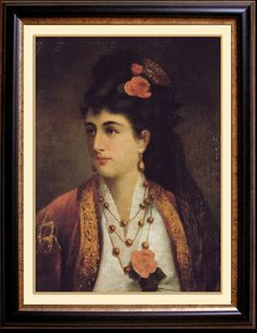 Portrait of Natalie Obrenovic, Queen of Serbia by Adele Riche Art Print (1875  in a beautiful Libade (Pharyah)
