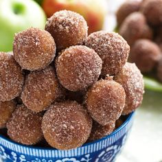 Baked Apple Cider Donut Holes - coated in cinnamon sugar. So addicting - it's a good thing they're baked. Perfect with a cup of coffee!
