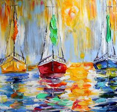 Original oil painting Harbor boats Sunset abstract impressionism fine art impasto on canvas by Karen Tarlton