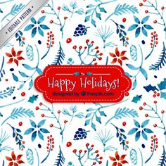 Watercolor floral christmas pattern Free Vector