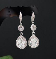 Wedding Bridal Jewelry Bridal Earrings Bridesmaid Earrings Dangle earrings clear white cubic zirconia Crystal Tear drops Earrings