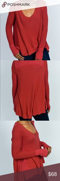 NWT Free People Malibu Thermal Brand New with tags- never worn. Lovely and soft in washed red. This is a total staple featuring thumb sluts and side slits. Very flexible sizing. Would fit xs-M Free People Tops