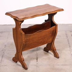 This Magazine Rack Is Featured In A Solid Wood With Glossy Light Cherry Finish End Table Great Condition Carved Curved Trim