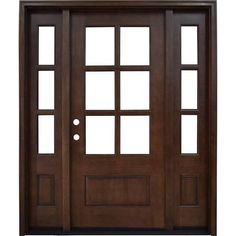Steves & Sons 64 in. x 80 in. Savannah 6 Lite Stained Mahogany Wood Prehung Front Door with Sidelites, Brown
