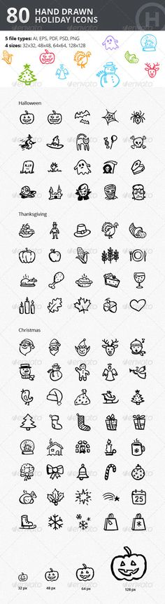 Christmas Thanksgiving Halloween Icons Bundle