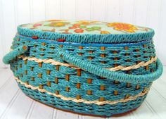Large Turquoise Wicker Sewing Basket - Vintage Oval Aquamarine Box with Double Handles - Funky Fabric Lid and Groovy Graphic Interior