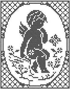 Gallery.ru / Фото #167 - 11 - unito Filet Crochet, Crochet Cross, Crochet Chart, Crochet Doilies, Stitch And Angel, Cross Stitch Angels, Cross Stitch Heart, Quilt Stitching, Cross Stitching