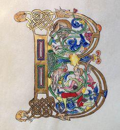 Lettrine B. Adaptation et mise en couleur d'une lettrine B qui dans l'ouvrage original était inachevée.