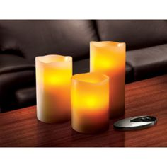 @Overstock - Experience safe and convenient LED light technology with the Sarah Peyton 3-piece Candle Set with Remote. Featuring a soft ambient amber glow, these unique lights flicker and wane just like conventional candles. http://www.overstock.com/Home-Garden/Sarah-Peyton-3-piece-Flameless-LED-Candle-Set-with-Remote/7523530/product.html?CID=214117 RON              128.89
