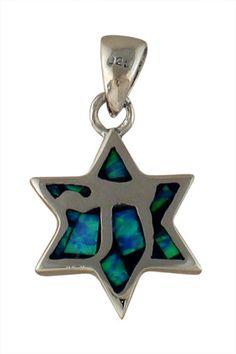 Silver and Opal Star of David Chai Pendant #JewishJewelry #ChaiJewelry ajudaica.com