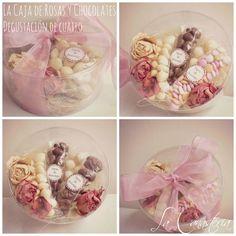 La Caja de Rosas y Chocolates: Degustación de Cuatroes un elegante detalle que diseñamos para regalos corporativos para el 10 de mayo en una fina caja redonda con deliciosa selección de chocolates…