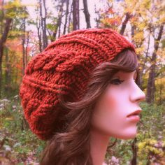Hand Knit Hat Womens Chunky Cable Slouch Hat  Rust by CroquisKnits ♡