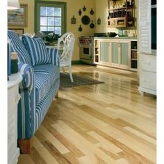 Heritage Mill Hickory Natural High Gloss in. Thick x 3 in. Wide x Random Length Engineered Hardwood Flooring sq. & case) at The Home Depot - Mobile Hickory Wood Floors, Real Wood Floors, Engineered Hardwood Flooring, Hardwood Floors, Pallet Floors, Light Colored Wood, T Home, Wood Colors, Home Improvement