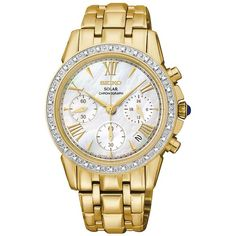 Women's Seiko Ladies' Le Grand Sport Solar Chronograph Watch with... ($476) ❤ liked on Polyvore featuring jewelry, watches, gold, bracelet watches, sports bracelet, sport watches, gold jewelry and chain link bracelet
