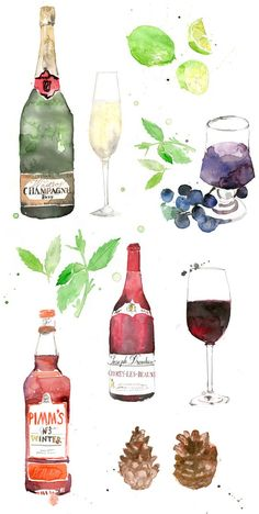 Champagne, wine, Pimm's | illustration by artist Sarah Maycock