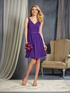 Alfred Angelo Style 7363S: short cocktail length bridesmaid dress with pleated V-Neckline bodice and satin belt