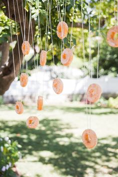 Add some sweetness to your backyard games by tying donuts to a string and hanging them from tree branches to create a game of bobbing for donuts. Have kids and adults compete against each other. It's harder than it looks, but the game makes for some great laughs!