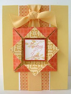 handmade card ... box frame fold with raised panel inside .. luv the monochromatic look of oranges ... great card ... patterned papers ...