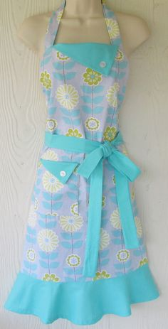 Aqua and Gray Floral Apron , Charteuse Flowers, Womens Full Apron, Retro Style, KitschNStyle