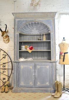 Painted Cottage Chic Shabby Farmhouse Cabinet [IB-SH] - $1,695.00 : The Painted Cottage, Vintage Painted Furniture