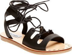Women's Steve Madden Rella Lace Up Sandal - Black Leather with FREE Shipping & Exchanges. Calling all gladiators! The Rella Lace Up Sandal features a bold and fierce design, sure to add some