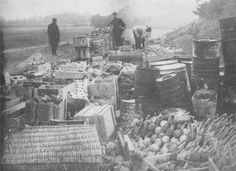 First World War: War supplies taken by the Allies after the storming of a German trench. Note the hefty hand grenades in the right foreground.