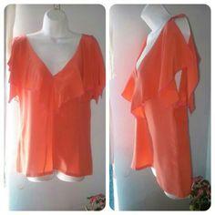 BCBG Silk Peach Blouse 100%Silk V neck peach with pink lining. Draped open short sleeve BCBG Tops Blouses