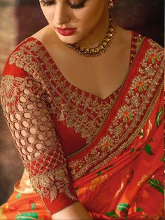 25 Dashing Red Work Blouse designs to try for your wedding - Wedandbeyond Silk Saree Blouse Designs, Fancy Blouse Designs, Bridal Blouse Designs, Blouse Neck Designs, Red Blouse Saree, Saree Blouse Patterns, Red Saree, Stylish Blouse Design, Salwar Kameez