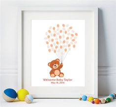 Teddy Bear Fingerprint Guest Book Baby Shower Birthday, original thumbprint Balloons guestbook - Digital Printable Personalized Print