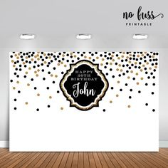 Black and White Golden Backdrop Adults Party Banner Poster Gold Party Decorations, Birthday Decorations, Party Themes, Ideas Party, Elegant Invitations, Party Invitations, Mom Dad Anniversary, Mason Jar Party, Birthday Backdrop