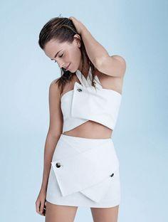 Emma Watson poses in white matching separates in Elle UK December 2014 // Photo by Kerry Callihan