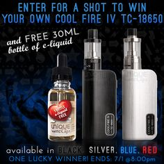 Enter for your chance to win Innokin's Cool Fire IV TC-18650 & a 30 ML bottle of e-liquid!