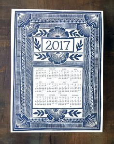 This letterpress one-page calendar features a hand-carved block print design, that is then transferred to a printing plate and letterpress printed in a dark navy, with hand-lettered 2017 text and an intricate border.  Keep it above your desk to see the year at a glance!  The calendar is 9 x 12 and is printed on thick cream museum board, and can be framed or hung as-is.  See behind the scenes in the studio on Instagram! Follow @katharine_watson to see how everything is made.