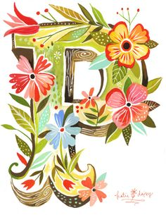 Katie Daisy does pretty water colors with flowers. we could do something like this for a drop cap. Typography Letters, Typography Design, Images Noêl Vintages, Typographie Inspiration, Daisy Art, Daisy Daisy, Daisy Flowers, Creative Lettering, Motif Floral