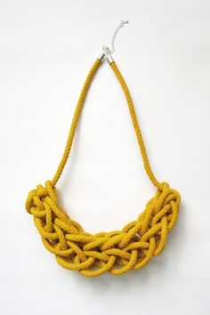 Hearsay Designs: Yellow Knitted Rope Necklace